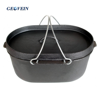 New arrival 10 Qt outdoor large oval cast iron camping oven