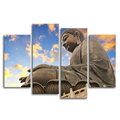 Buddha HD Photography Printing on Canvas 4-Panel Canvas Art Painting Living Room Decoration Chinese Style Painting
