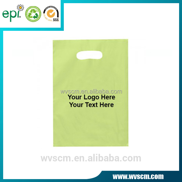 Wholesale Heal Seal Custom Logo Printed Biodegradable Die Cut Handle Ldpe Hdpe PE Shopping Plastic Bag