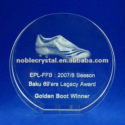 Noble Crystal Round Standing Golden Boot Winner Trophy