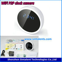 Full HD 1080P clock p2p wifi camera clock MINI Table/Desk Alarm Clock camera with 90 degree angle view
