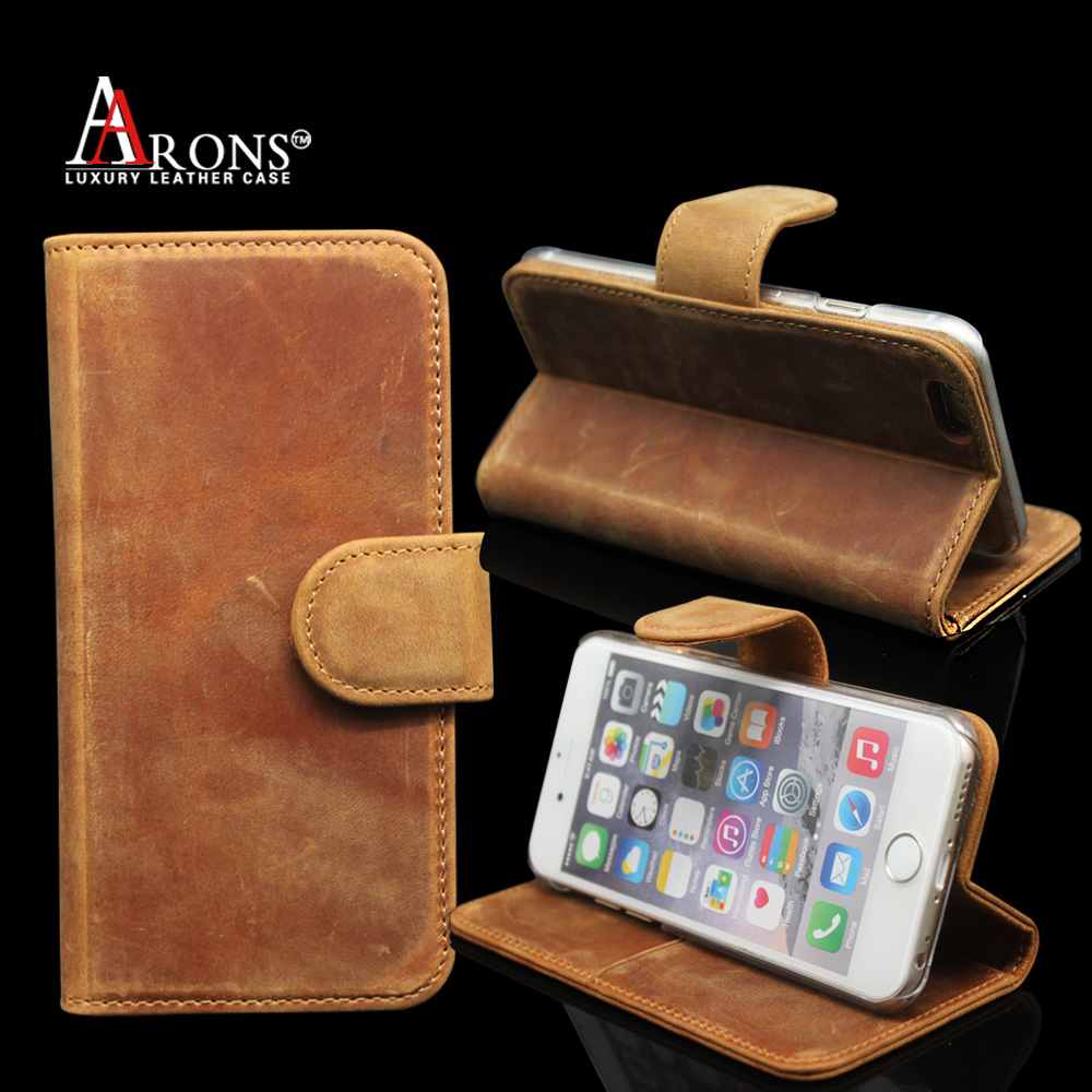 Distressed magnetic clasp wallet cover phone case leather case for iphone 6