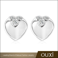 OUXI new design heart white opal single stone fashion designer 925 silver earring Y20254