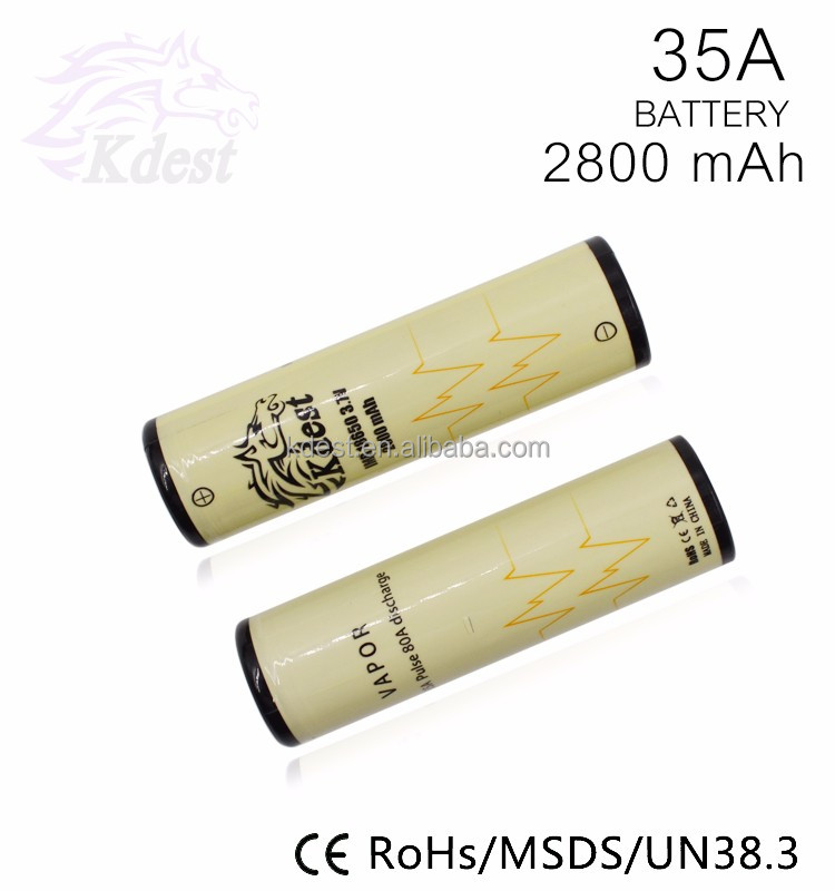 Vaporizer battery light yellow 18650 batteries kdest 2800mAh 3.7V Rechargeable battery for E-cigarette