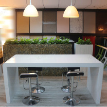 Solid surface white long narrow bar table