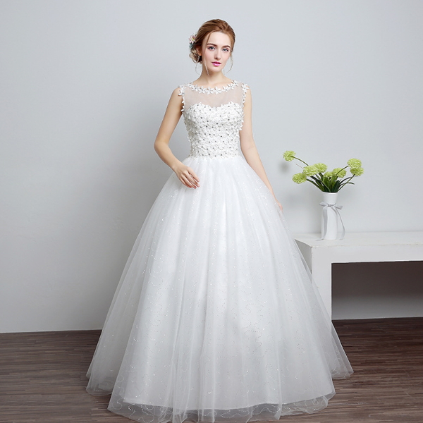 MS60006L fashion sleeveless design women lace beaded wedding dress