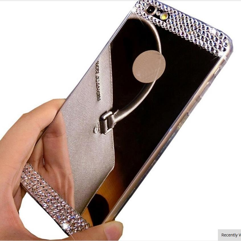 New Hot Gold / Silver Soft tpu Mirror Back Case For iPhone 6s with bling diamond