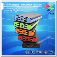New Design 4 Charging Ports LED Light Portable Power Bank Station 20000mah