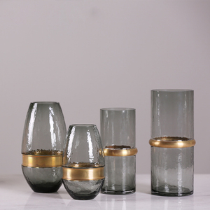 Household home furnishing articles high end grey glass vase with gold rim