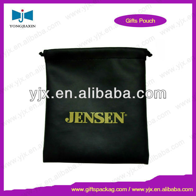 Black Drawstring Velvet Gift Bag with Striking Gold Logo