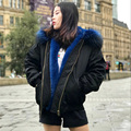 CX-G-P-19H Unisex Cheap Faux Fur Lined Fashion Bomber Jacket with Raccoon Collar