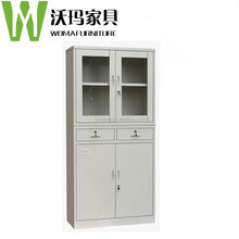 Two drawer tall metal cabinets with glass sliding door