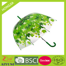 Cheap stick 23 inches metal shaft auto open full color printing clear children dome umbrella