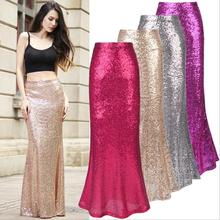 X61091A New Fashion Women Sequins Long Party Skirts Gothic Victorian Ladies Prom Fishtail Skirt