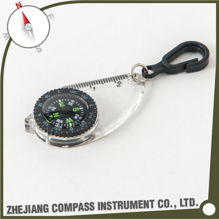 Multifunctional plastic liquid filled keychain compass with ruler