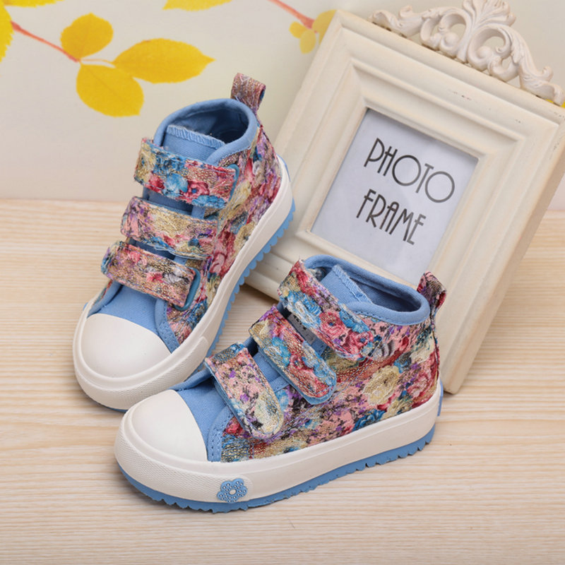 FC2592 latest style children canvas shoes non-slip printed girls shoes flower