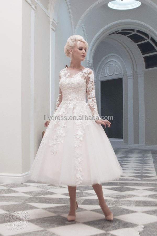 A-Line White V-Neck Long Sleeve Knee Length Lace Appliqued Customized Organza Bridal Dresses SW002 Short Wedding Dress