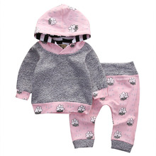 Baby clothing 0-2 years baby girls hoodies set with pocket