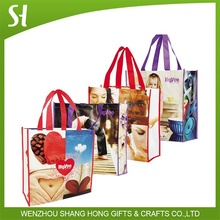pp grossy laminated woven shopping tote bag
