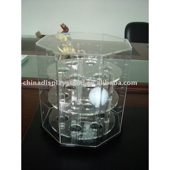 3 tier revolving acrylc golf ball display case rack