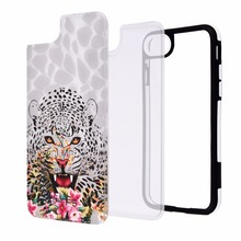 For iphone 8 Cover, Hybrid Case Leopard Pattern Hard PC Back Cover TPU Soft Bumper Case for iphone 8 Phone