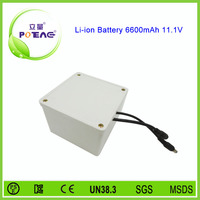 Rechargeable 12V 6600mAh 3s li-ion battery with white case