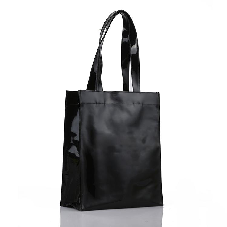 Black Wholesale Zipper Pvc Vinyl Tote Shopping Bag - Buy Vinyl Bag ...
