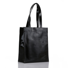Black Wholesale Zipper PVC Vinyl Tote Shopping Bag