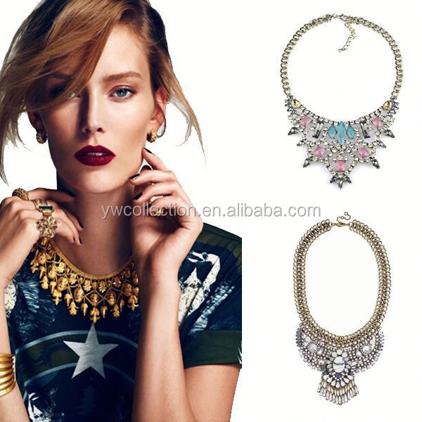 Factory supply 2015 statement necklace,wholesale fashion jewelry,necklace ruby emerald sapphire