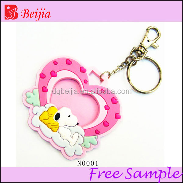 2013 Eco-frindly silicone rubber key chain with ring photo picture frame