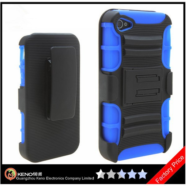 Keno Tough Rugged Layered Extreme Hybrid Belt Clip Holster Case for iPhone 4 4S