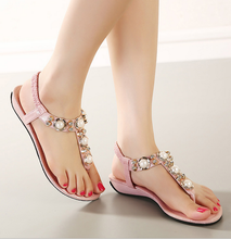 2016 The new Bohemia diamond beads thong low price ladies sandals