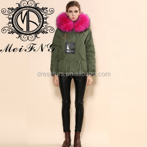 OEM Winter rabbit fur for knitting ladies rabbit fur jackets with big raccoon trim collar hooded parka
