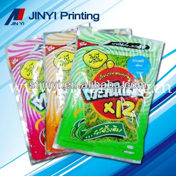 Laminated printed plastic sample food packaging bags for snack