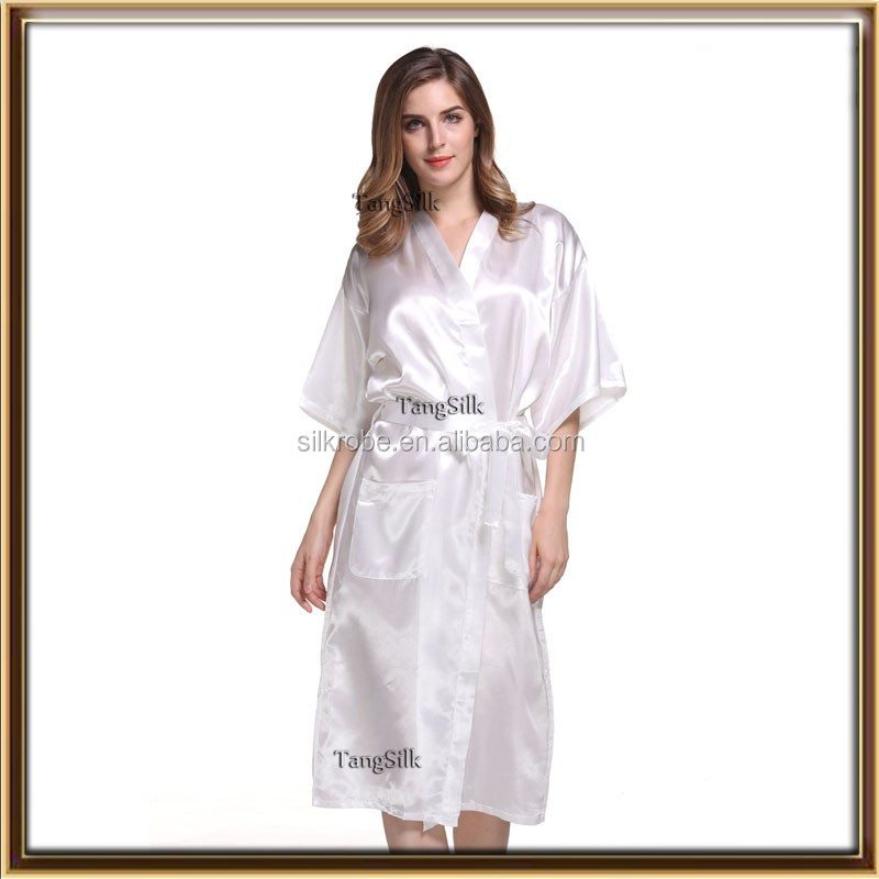 plain colors silky long sexy satin nightgown