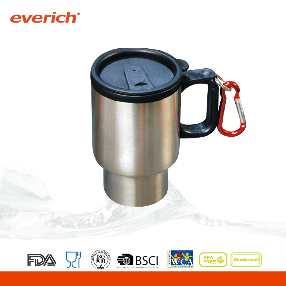 Everich customized 14oz travel mug with carabineer
