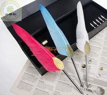 Imported swan fancy feather quill pen as wedding/Alibaba excellent grade ballpoint feather quill pen