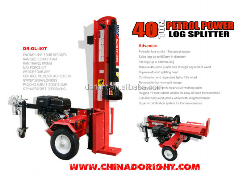 Hot selling 30-45 ton Gasoline engine horizontal and vertical used gas log splitters