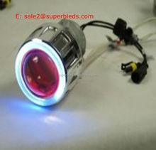 Hid Projector Lens With Dual Color Angel Eyes Bi-xenon double angel eye hid projector lens Motorcycle Projector Headlight