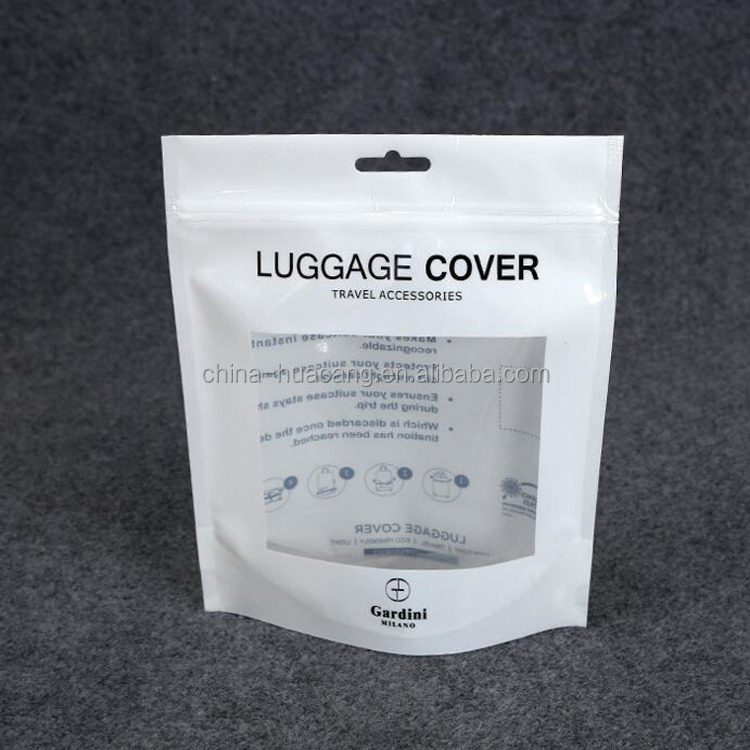 White print stand up plastic beauty products zipper packaging bag with clear window for luggage cover