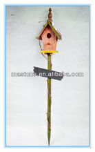 Eco-friendly Colorful wooden bird house with stand with snow