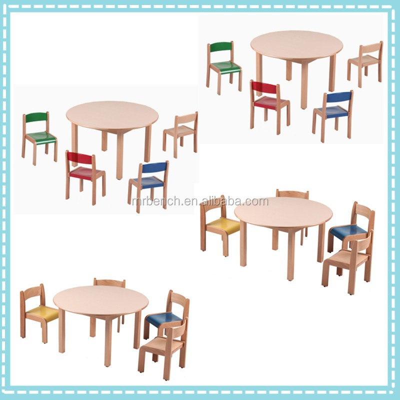 2017Hot sale Ecofriendly wooden children tables and chairsused