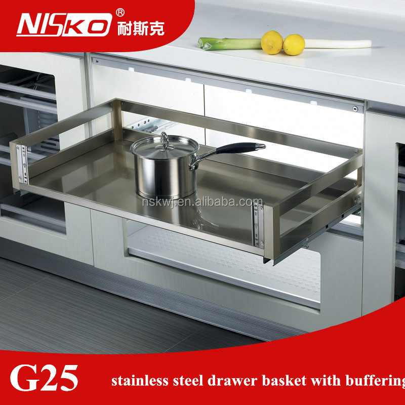 China supplier Factory Directly Fashion Kitchen Cabinet 3 sides pull out basket