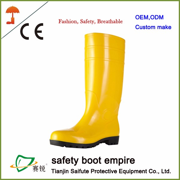 pvc steel toe cheap safety rain boots for men