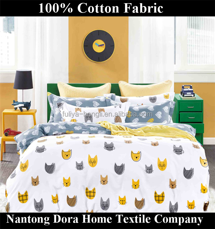 Cute cats printing wholesale cotton bedding fabric