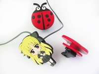 new shelves colorful coccinella septempunctata mode engraving 2D silicone earphone charms