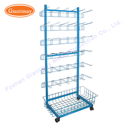 Supermarket retail removable exhibition detachable floor stand hanging products disassembly wire steel basket with wheels