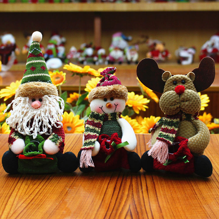 OEM Wholesale plush stuff gifts reindeer snowman Santa Claus stuffed toy for christmas decoration