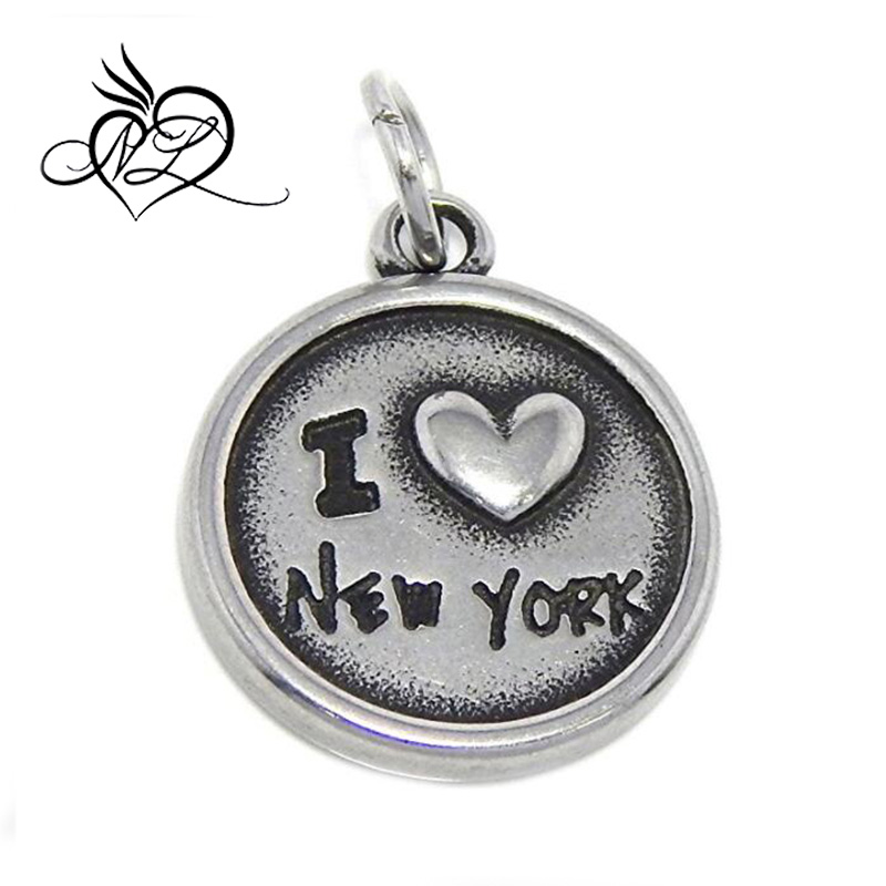 Stainless Steel Dangling I Love New York / American Flag Plaque Message Charm For Bracelet