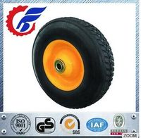 Solid Rubber Wheel With Steel Rim , Black Tire